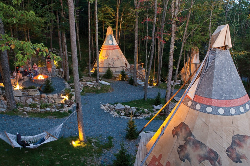 One of the most popular amenities at Eagles Nest, the teepees can be booked overnight.