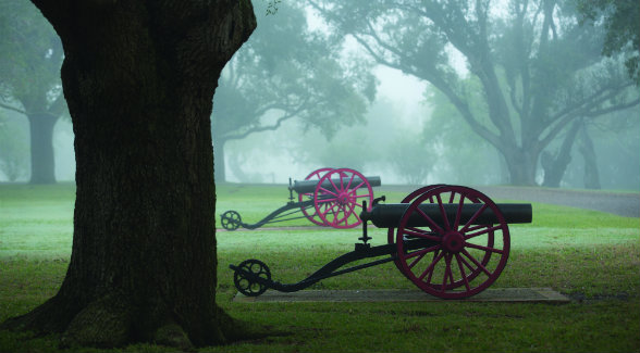 In 1875, Captain King acquired four 12-pound naval boat howitzers. They still stand guard at Santa Gertrudis. Two are rifled Dahlgrens, and two are smoothbore Ames.