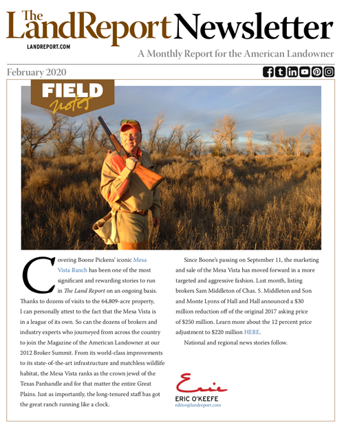 Land Report February 2020 newsletter cover
