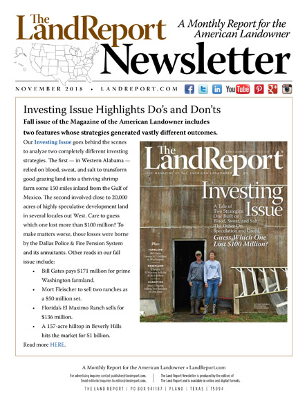 Land Report November 2018 Newsletter
