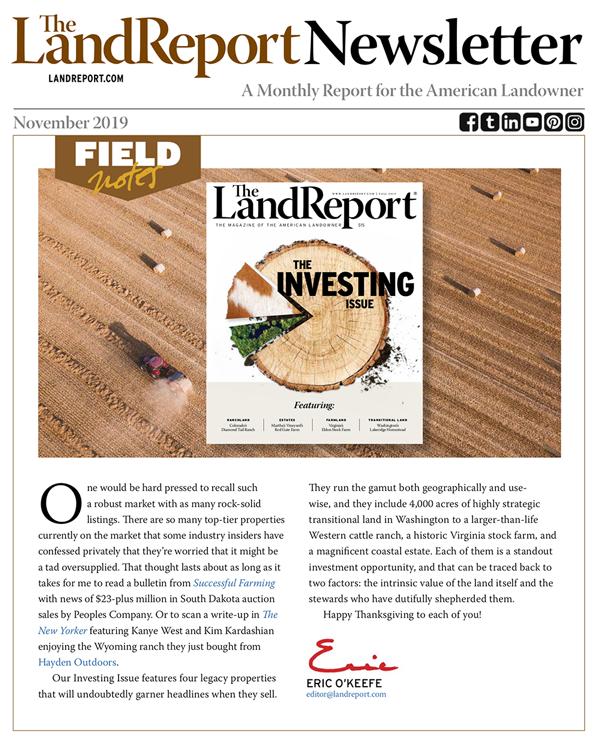 The Land Report November 2019 newsletter cover