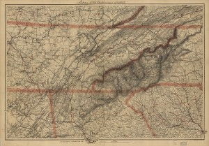This 1865 survey map from the Library of Congress includes the disputed Georgia-Tennessee boundary as well as portions of Alabama, Kentucky, Virginia, North Carolina, and South Carolina.