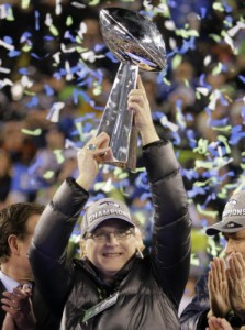 Paul Allen, the new owner of the Trees Ranch, celebrates the Seahawks' 2014 Super Bowl victory.