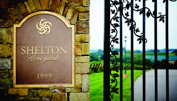 The Sheltons' attention to detail is evident in all elements of their winery, including the exquisite entrance.