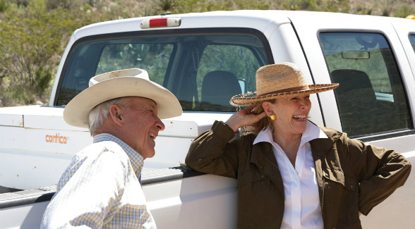 Although the couple has traveled near and far, they are most at home on their ranches, especially at hunting camp with family and friends.