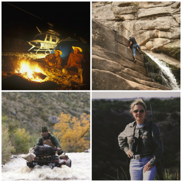 Meinzer's assignments almost always go above and beyond. UPPER LEFT: He routinely relies on his good friend Knut Mjolhus to pilot him to remote locations such as the Chinati Mountains high above the Texas-Chihuahua border. UPPER RIGHT: When Mjolhus is not available, Meinzer must fend for himself, hauling his gear up granite cliffs in Wyoming's Laramie Mountains. LOWER LEFT: For three decades, Meinzer has relied on this sturdy Honda 350cc 4x4 to tackle terrain such as Mexico's Del Carmen Mountains. LOWER RIGHT: Meinzer's wingman of choice? His wife, Sylinda.