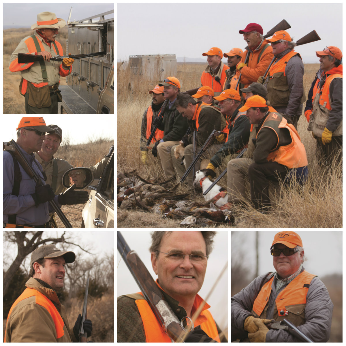 Clockwise from upper right: The Legends of Quail Hunters; National Skeet Shooters Hall of Famer Rick Pope; Park Cities Quail cofounder Joe Crafton; Covey Rise Publisher John Thames; WFAA's Pete Delkus and John Thames chat with Boone Pickens; Rolling Plains Quail Research Ranch founding member Rick Snipes. All of the Legends are ardent supporters of Park Cities Quail, a non-profit that has raised more than $6 million for quail conservation over the last decade. During that time, the Mesa Vista Ranch has been the top cooperating ranch for research.