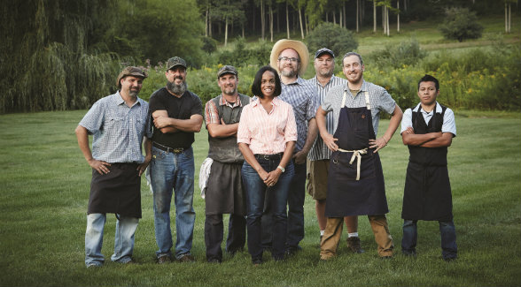 AT THE READY: Jeremy Stanton (third from left) and his crew of weekend warriors create culinary experiences celebrating local and seasonal ingredients.